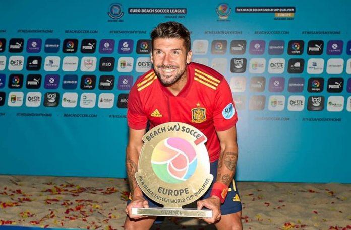 Pablo Pérez 'Tavío' después de proclamarse campeón de Europa